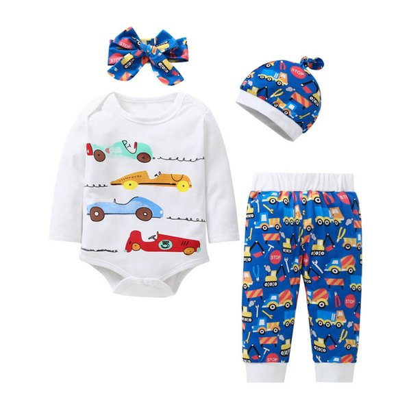 Christmas baby suits cartoon newborn outfits long sleeve rompers+pants+hats+headband baby clothes baby boy clothes infant girl clothes A7380