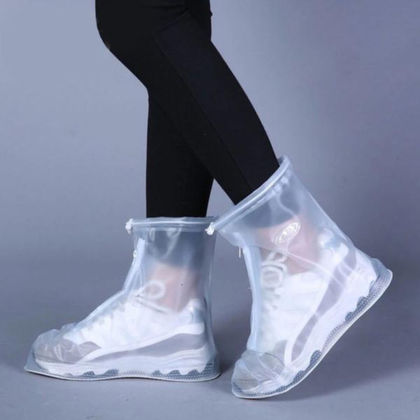 Alta-Top Anti-Slip Casos Sapatos de Chuva Unisex Adulto Crianças Zipper capa de Chuva Sapatos Ao Ar Livre À Prova D 'Água Protetor de Sapatos de Inicialização BH0887 TQQ