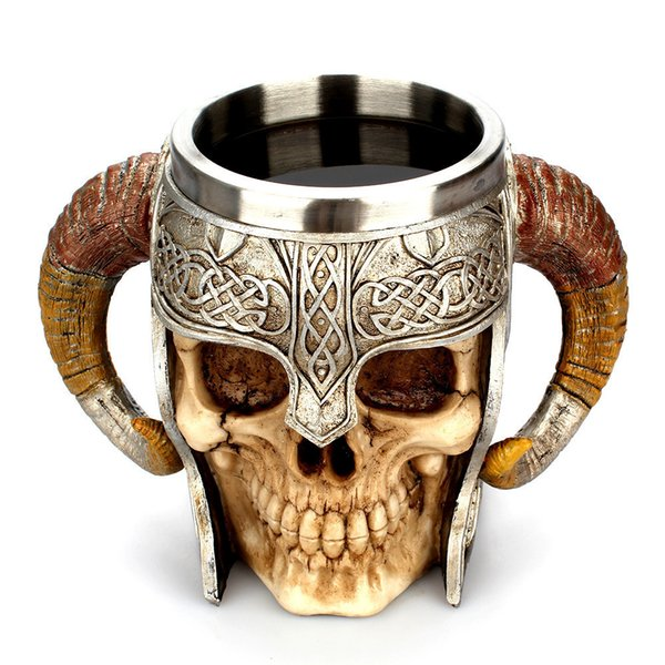 Coffee Mug Resin Striking Warrior Tankard Viking Skull Double Wall Christmas Cup Creative Thermos 2019 New Products Selling Well C19041302