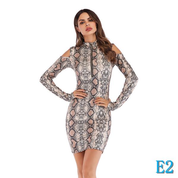 Женские платья Взрывозащищенные модели Мода Leopard Тонкий сумка Hip без бретелек с длинным рукавом платье с двумя цветовыми S-2XL AvailiableE2