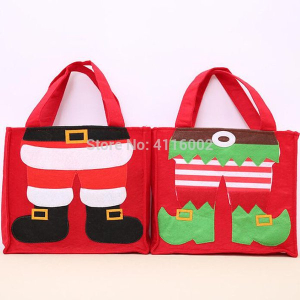 60pcs Christmas Nonwoven Handy Bag Gift Bag Candy Tote Bag with Santa Claus Elf Christmas Festival Supplies