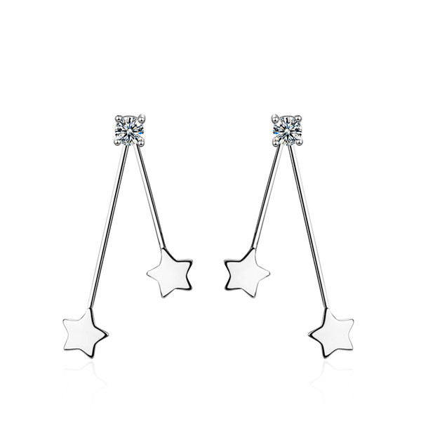 ED620 Behind the stars hanging ear nails female sex cold wind long earrings red ears pendant ear jewelry