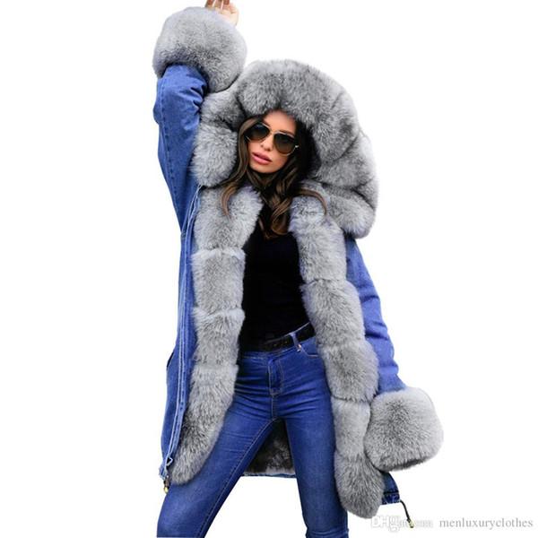 Le donne Jean collo di pelliccia di spessore Designer cappotti allentati inverno caldo con cappuccio giù cappotti Parka