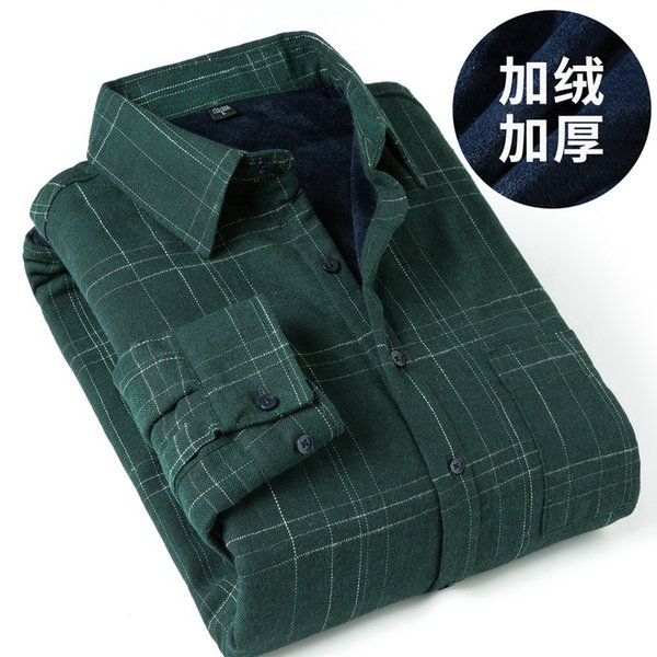 men's long sleeve plaid warm thick fleece lining shirt fashion soft casual flannel shirt comfortable plus size 4xl 5xl y2058