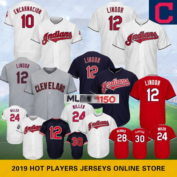 huge selection of 38f63 94b86 2019 10 Edwin Encarnacion Cleveland Jerseys 12 Lindor 30 Indians Joe Carter  28 Kluber Jersey 24 Miller 150th Anniversary Baseball From ...