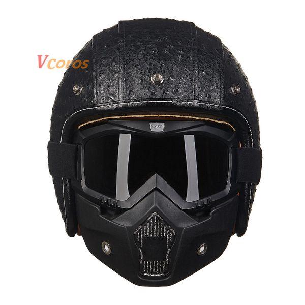 2016 GXT Vintage Motorcycle Helmets Open Face Retro Leather Scooter Helmet Professional Halley Moto Helmet Casco Casque