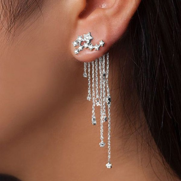 Luxury Bridal Jewelry Women Designer Sterling Silver Shiny Drop Earrings With Star Tassel Sexy Girls Party Accessories