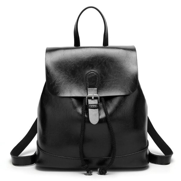 Ragcci Fashion Backpack for City Women Backpacks Girls High Quality Waterproof Nylon Female Backpack with Cow Leather Black