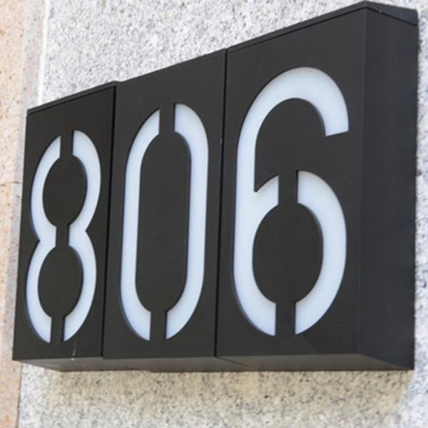 Водонепроницаемый Цифровой Дверной Светильник Солнечный Дом Номер Знак 6 LED для Стены Сада