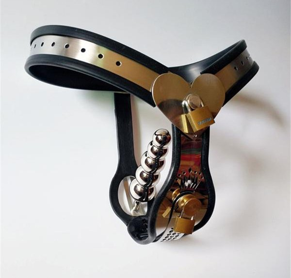 Female Chastity Belt Love shape Y-type Stainless Steel Device BDSM Bondage Sex Toys and anal plug + vagina plug For Women