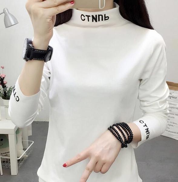Moda Bayan Bluz Sweateshirts kadınlar Gömlek Kazak Uzun Kollu Moda Heron Preston Gömlek O-boyun Hoodie Uzun Kollu Kazak