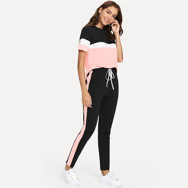 Color Block Tee And Drawstring Tape Pants Low Set Streetwear Short Sleeve Women Tracksuit 2019 Spring Casual 2 Piece Set