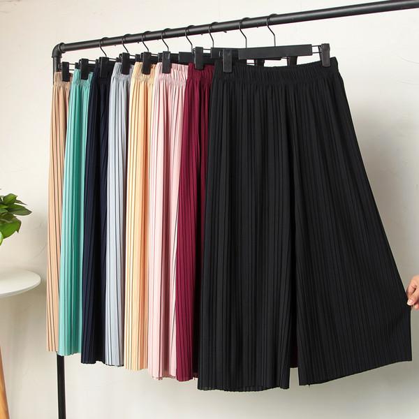 womens pants pleated chiffon pant wide leg pants female summer new korean version of nine high waist loose mm pants
