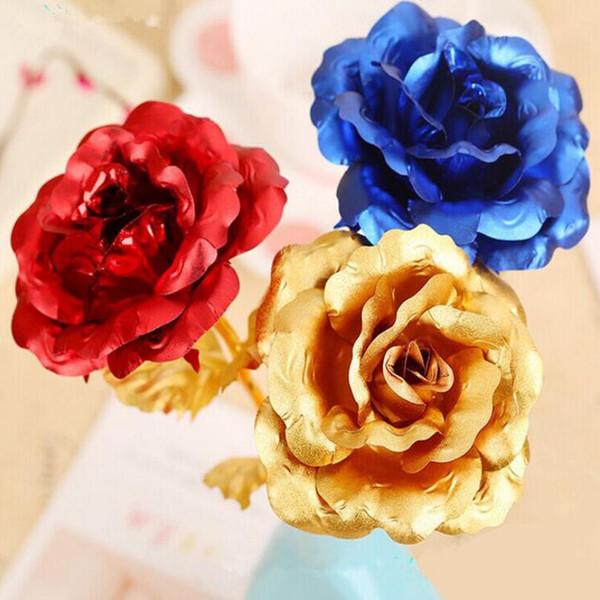 Banhado A Ouro 24 K Rose Mergulhado Folha Romântico Flor Artificial de Casamento Festa Festiva Presente Do Dia Dos Namorados LX4779