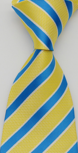Brand New Geotae Zerun Classic Elegant Striped Yellow Blue JACQUARD WOVEN Silk Tie Necktie GZ6