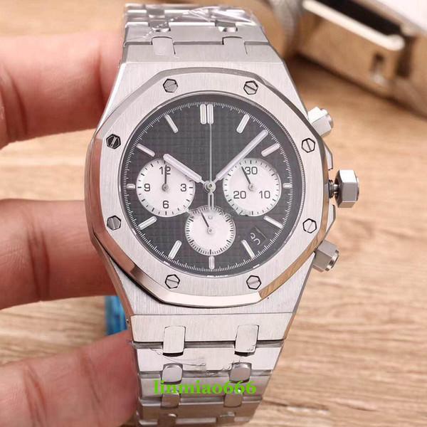 2018 nuevo reloj de lujo para hombres 42 mm Dial pequeño trabajo 6 puntero Cuarzo reloj de acero inoxidable reloj tick relojes 140