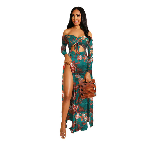 Women Summer Casual Dresses 2019 Brand Flora Printed Split Hollow Out Dresses Ladies Summer Sexy Holiday Styel Floor Length Dresses
