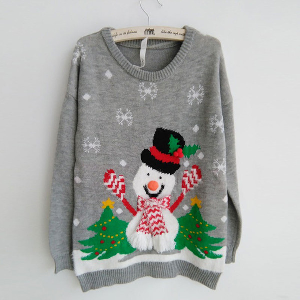 2019 Wholesale-New Ugly Women Men party Christmas Sweaters Lovely Snowman Wearing Scarf and Gloves Christmas Tree Snowflake Patterned S-XL