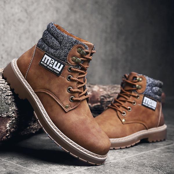 Commerciali Scarpe Casuali Stivali Martins caviglia pattini di lavoro degli uomini di modo High-top scarpe da trekking neve Warm