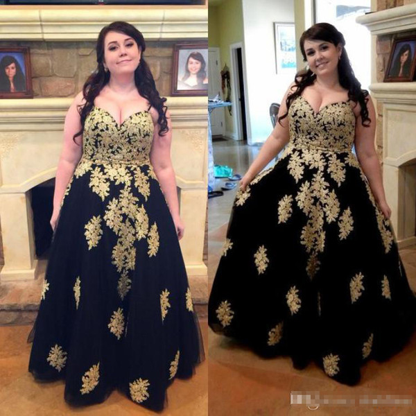 Black Gold lace Prom Dresss 2019 Tulle Spaghetti Straps Floor Length Plus Size For fat Sleeveless Formal Long Evening Dress Party Gown