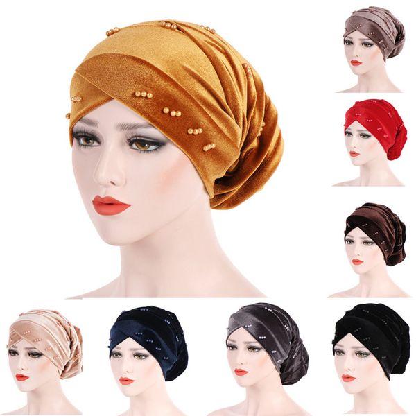 New Fashion Women Autumn Winter Muslim Beading Pearl Ruffle Hat Beanie Scarf Turban Head Wrap Cap #4F09