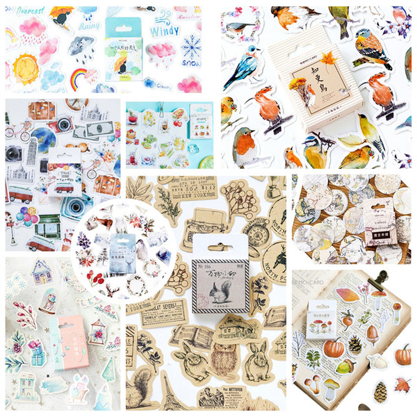 crapbooking & Stamping 46pcs pack Cute Animals Stickers Paper Kawaii Bird Weather Stickers Decoration Diary Scrapbooking School Sup...