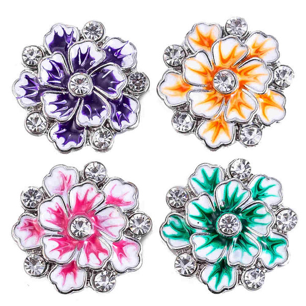 New Botão Snap Jóias quatro cores flor Ginger metal 18mm Snap Botões fit Pulseira Botão Bangles Jóias TZ9175