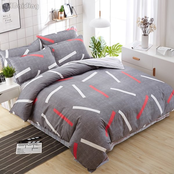 White Red Stripes on Gray Plain Bedding Set Modern Adult/Children Bed Linen Duvet Cover Set Bedclothes for Home Bedding 4 Size