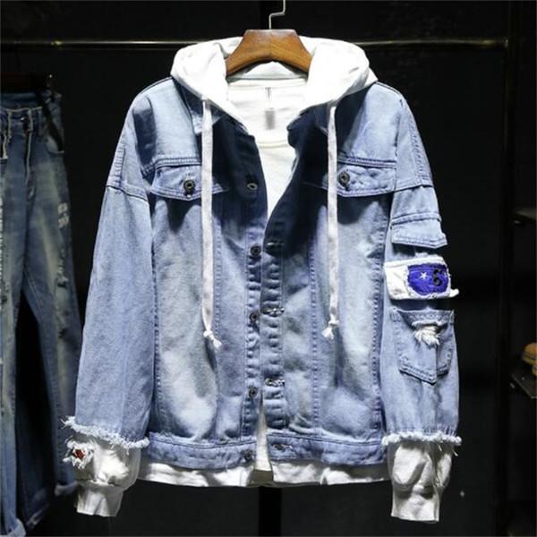 Men Denim jacket Ripped Joining Together Casual Mens Denim Jacket Patchwork Hip Hop Men #JK88