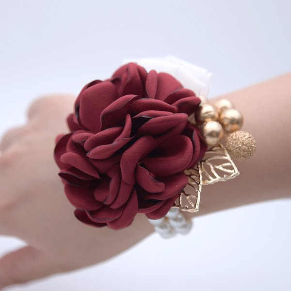 2018 Luxus Silk Ribbon Weinrot Hochzeit Handgelenk Blume Braut Brautjungfern Handgelenk Corsagen Braut Handgelenk Bouquets Rosa Frauen Künstliche Blume