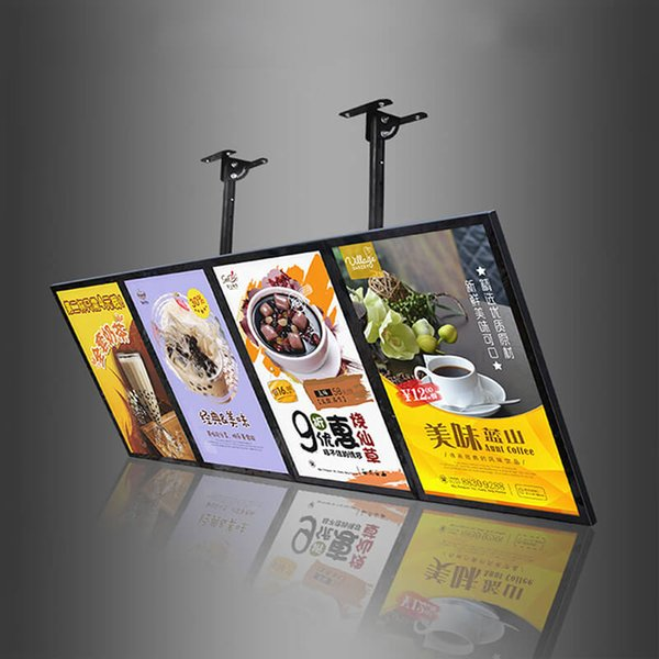 60x160cm Fast Food Store Hang Menu Board Display Menu Signage with 4pcs Light Boxes Units Wooden Case Packing