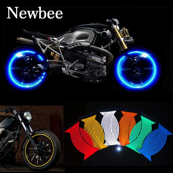 Newbee 16 Pcs = 1 set strisce moto ruota adesivo riflettente decalcomanie cerchio nastro bici car styling per yamaha hano suzuki harley bmw