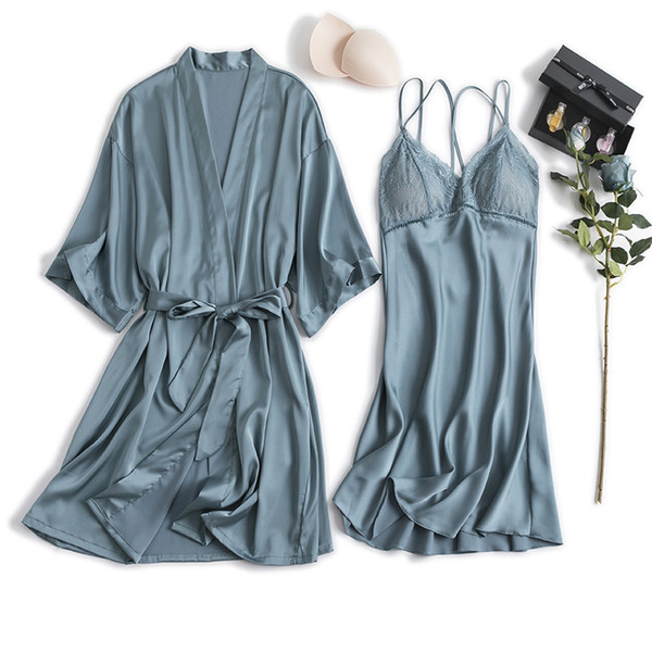 2019 Women Robe & Gown Sets Sexy Lace Sleep Lounge Pajama Half Sleeve Ladies Nightwear Bathrobe Night Dress With Chest Pads
