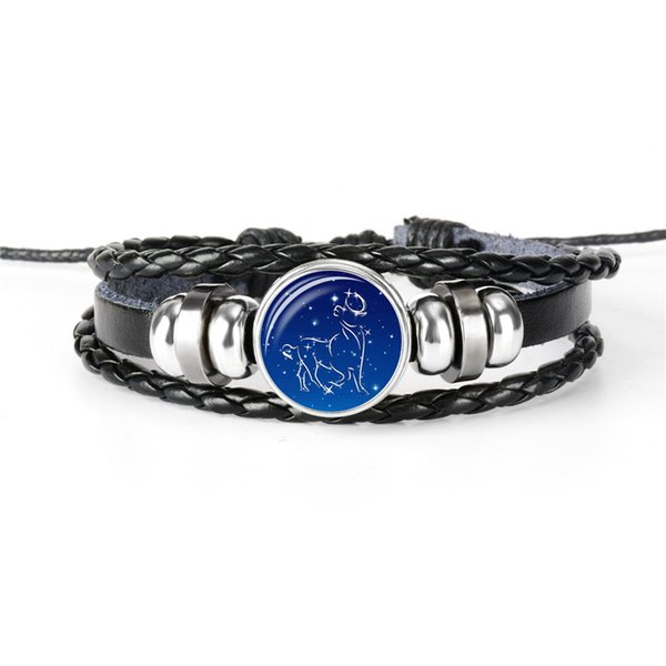 Women Men Black Leather Rope Beaded Bracelets Vintage 12 Constellations Zodiac Taurus Time Gem Glass Cabochon Wrap Jewelry Gift Dropshipping