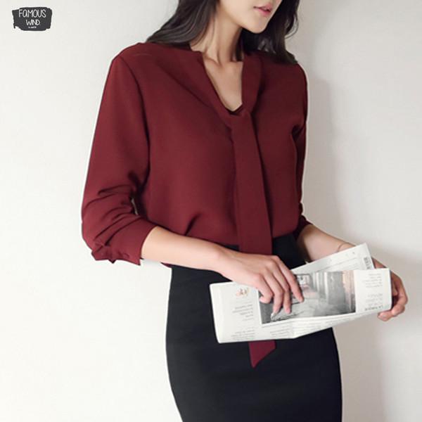 Abbigliamento Donna Autunno maniche lunghe Bow Tie Donna Maglie coreano allentato chiffon camicetta solido donne di colore 699C 30