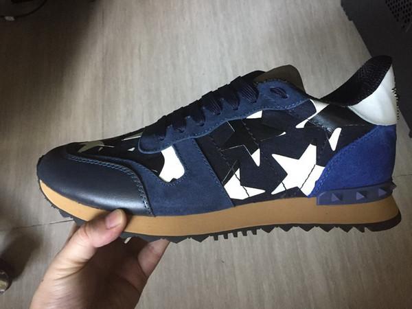 Tamaño 35-46 de los zapatos ocasionales de las mujeres / hombre camuflar cordón de cuero genuino de los zapatos pares de la estrella unisex remaches zapatos planos c16