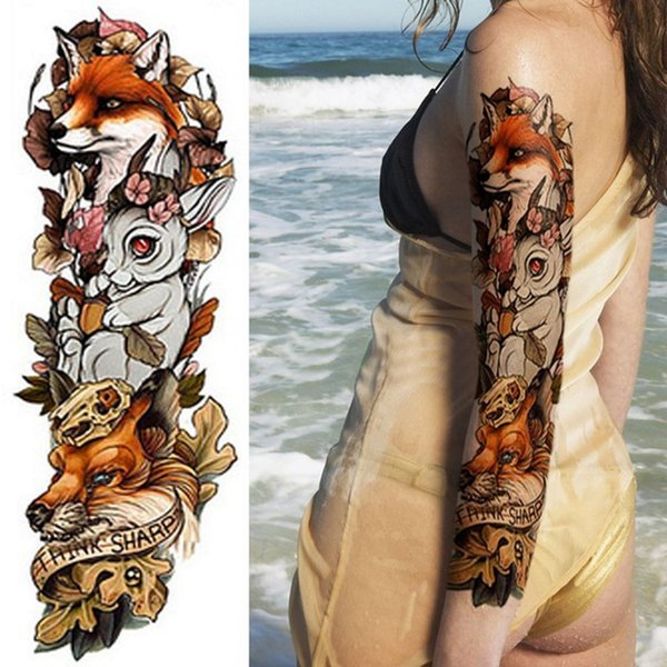 1piece New Temporary Tattoo Sticker Fox Rabbit Peacock Skull Dragon Full Arm Flower Tattoo Body Art Big Large Fake Tattoo Sleeve SH190729