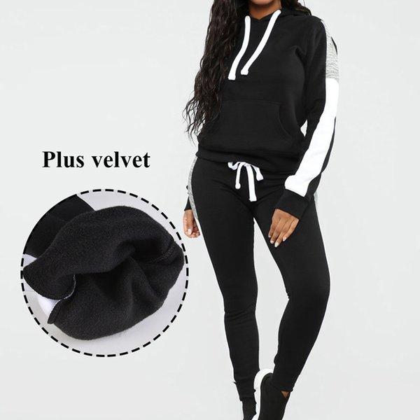 2019 novas mulheres inverno esporte terno hoodies agasalho suor jogger ternos de manga comprida calças compridas set sportswear feminino