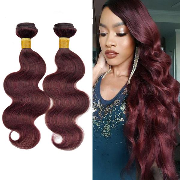 Brasileña onda del cuerpo del cabello humano 99J Borgoña vino rojo teje la onda del cuerpo del pelo de 3 lotes de Cosa en extensiones de cabello