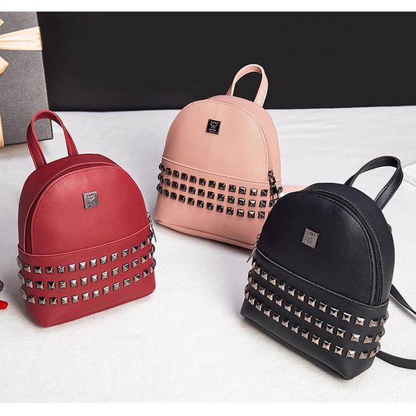 Mini Backpack for Women Girl Female PU Leather Shoulder Bag Stud Rivet Back Pack Lady
