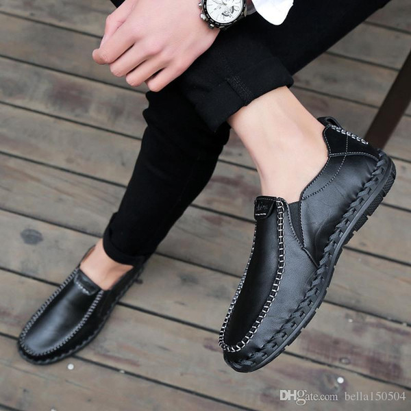 genuine leather leisure dress shoe suede loafer official shoes gentle mens travel walk shoe casual comfort breath shoes for Men Brand design