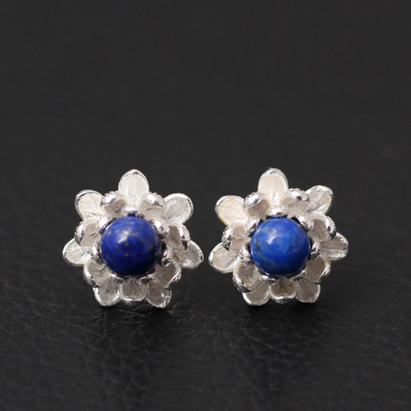 925 Sterling Silver Lapis Lazuli Lotus Flowers Stud Earrings For Women Elegant Lady Prevent Allergy Sterling-silver-jewelry T190626