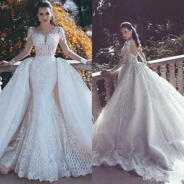 2020 Nouvelle Sirène Robes de Mariée avec détachable train Sheer cou à manches longues perles Dubaï arabe Dessus de jupe Robes de mariée