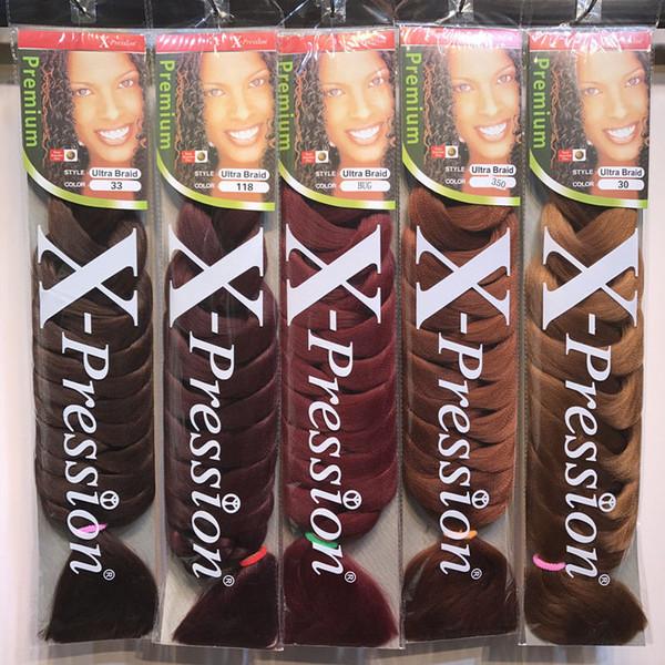 Xpression Braiding Hair 82 pouces 165g / pack synthétique Kanekalon Cheveux Crochet Tresses couleur unique Premium Ultra jumbo Braid extensions de cheveux