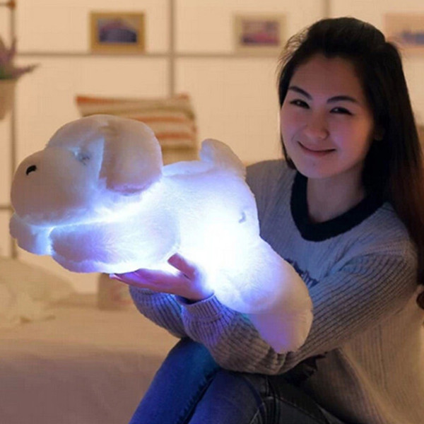 Hot LED Lovely Dog Stuffed and Plush Toys 30/50CM Length Creative Night Light Best Christmas Gifts for Kids and Friends#292723