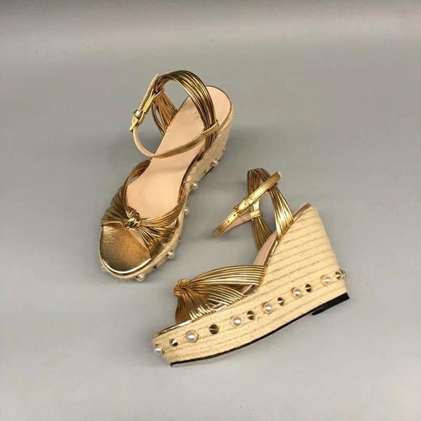 Hot Wedge Pearl Sandals Female 3.8cm Platform Wedges 11cm High Heels Sandals For Women Straw Ankle Strap Rivert shoes