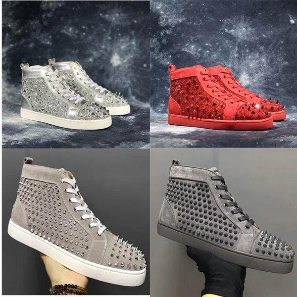 Yeni Varış Rahat Ayakkabı Adam Kadın Sneaker Moda Spike Rhinestone Kırmızı Alt Altın Gümüş Düğün Tasarımcı Rive Ayakkabı Damla Nakliye