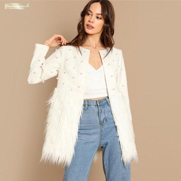 White Pearl Embelezada Brasão Jacket Mulheres Autumn Senhoras elegantes Applique Casacos Casacos Moda dos retalhos da pele do falso das mulheres