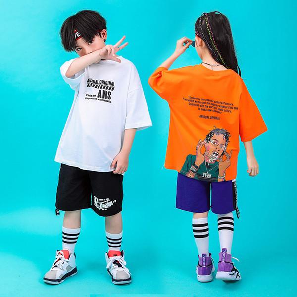 Kid Cool Hip Hop Clothing Print Oversized Running T Shirt Shorts for Girls Boys Jazz Dance Costume Ballroom Dancing Clothes Wear