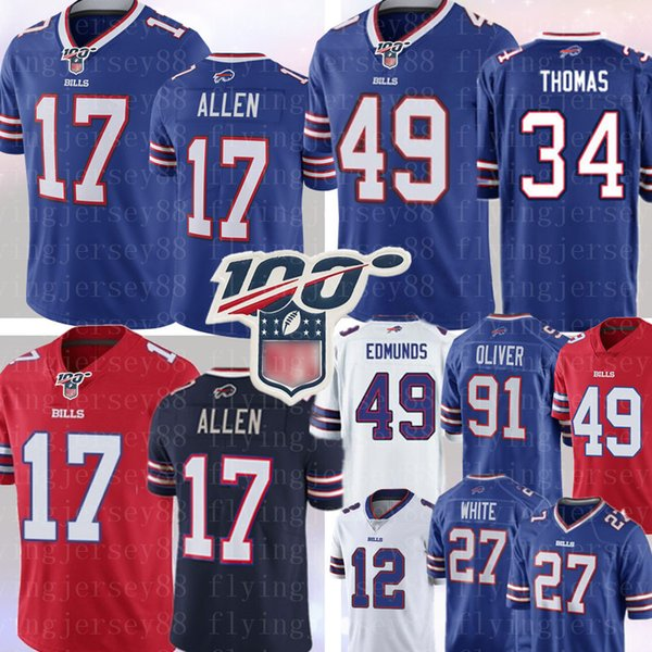 buffalo 17 josh allen bill jersey 34 thurman thomas 49 tremaine edmunds 91 oliver 27 tre'davious white jim kelly tyrod taylor football, Black;red